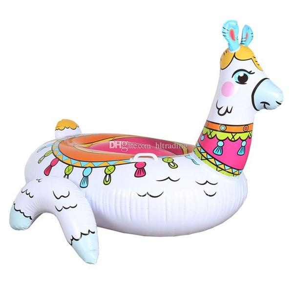 Materasso gonfiabile del materasso gonfiabile del letto della zattera di galleggiamento del giocattolo dell'acqua del alpaca gonfiabile 2019 Summer Holiday Swmming Ring 150 * 130 * 104cm C6773