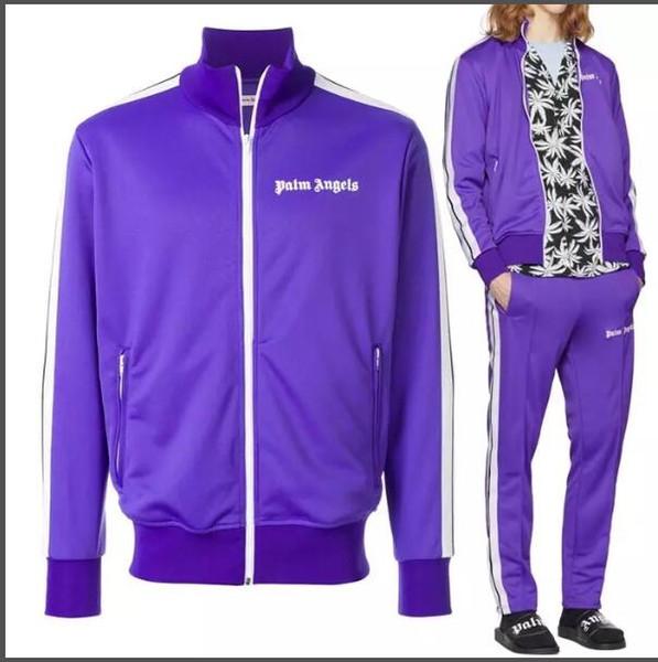 2019 New Palm Angels Tracksuit Men Women Vintage Sports Sweatsuit Fashion Striped Jacket Pants Sportswear Jogging Gym Sweat Suits size S-XL