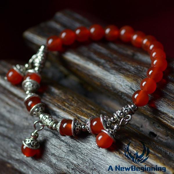 Stile vintage braccialetto elastico rosso pietra naturale accessori d'argento 6MM + tibetani semplici signore di modo braccialetto regalo di San Valentino