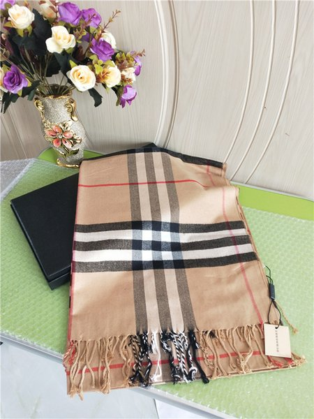 New women's autumn/winter cashmere scarf fashion luxury classic plaid tassel scarf British hot seller brand B scarf 180*70cm