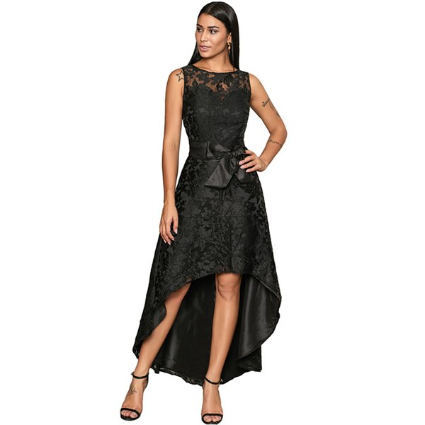 2019 New Many Colors Bow Lace Hi-Lo Formal Dresses Sleeveless Jewel Formal Dress Cocktail Dresses Party Dresses Ball Gown