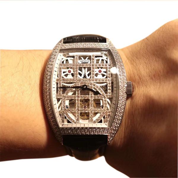 Cheap New Squelette Gypsophila Skeleton Diamond Dial Tourbillon Automatic Mens Watch Silver Diamond Case Leather Strap Watches 43mm