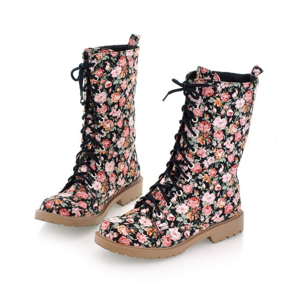 2019 new platform autumn winter woman ankle short boots lace up warm motorcycle boots martin boots women floral print bx-982