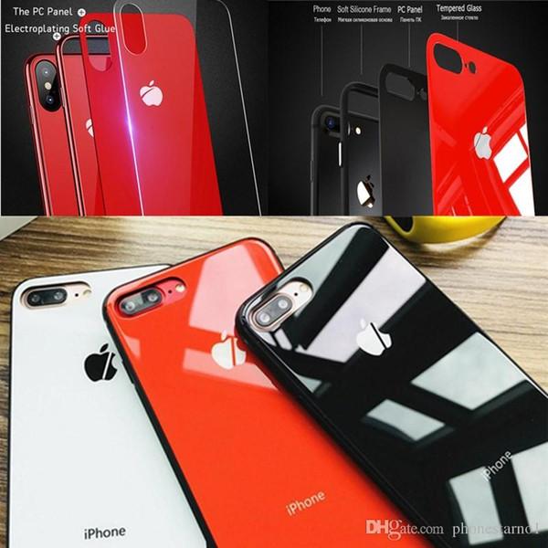 TPU Çerçeve Tampon Cam Telefon Kılıfı Için iPhone X 8 10 7 Artı Lüks Sertlik Temperli Cam Parlak Telefon Kılıfı Darbeye Temizle Arka Kapak