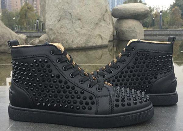 Yüksek Üst patent beyaz Dikenler Casual Flats Kırmızı Alt Lüks Ayakkabı 2017 Yeni Erkek ve Kadınlar Partisi Tasarımcı Sneakers Aşıklar Hakiki Deri İçin