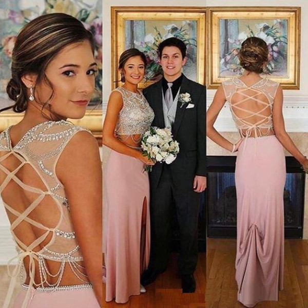 Long Luxury Sparkly Blush Pink African Style Sexy Two-Piece Prom Dresses Sheath Rhinestones Beaded Mermaid Formal Evening Party Gowns Vestid