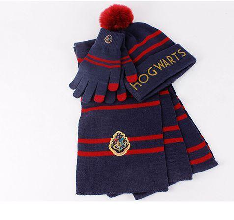 harry potter chapeau écharpe gant ensemble hiver chaud 3pcs 1set Cosplay Costumes Hommes Femmes Garçon Fille Poudlard imprimer chapeau LJJK1789
