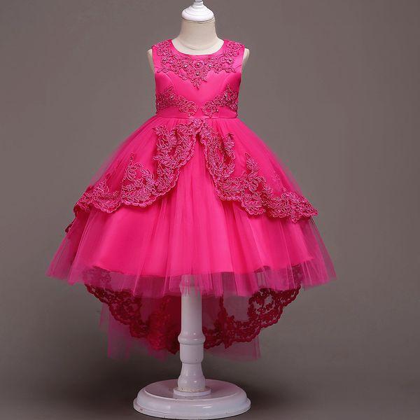 Rendas Flor Meninas Vestem Crianças Crianças Adolescentes Roupas de Festa de Casamento Da Dama de Honra Assimétrica Alta Low Prom Vestido de Princesa