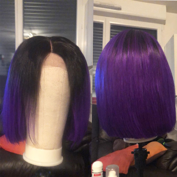 Fashionhairqd Ombre Lace Front Short Human Hair Wigs For Black Women T1b Purple Brazilian Bob Full Lace Wigs With Pre Plucked Baby Hair