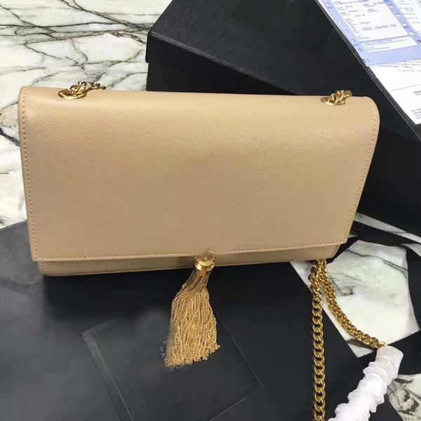 top popular New Classic Chain bag Purse Handbag With Tassel Clutch Bags Women Genuine Leather Handbag Shoulder Bag Totes Crossbody Bags 2020