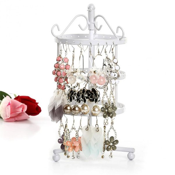 Multifunctional 72 Holes Earrings Stud Necklace Holder Jewelry Display Storage Stand Metal Rotating Organizer Rack Tree Stand