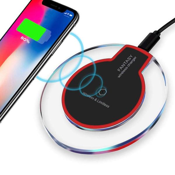 Amazon Ultra-Thin Universal QI Chargeur rapide sans fil Nouveau chargeur ultra-mince Crystal charge claire K9 5W chargeur sans fil pour téléphones mobiles