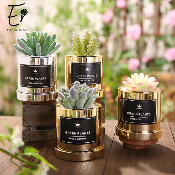 Erxiaobao Simulazione di lusso Succulente Mini Bonsai Piante verdi in vaso di cactus artificiali con decorazione in vaso di metallo