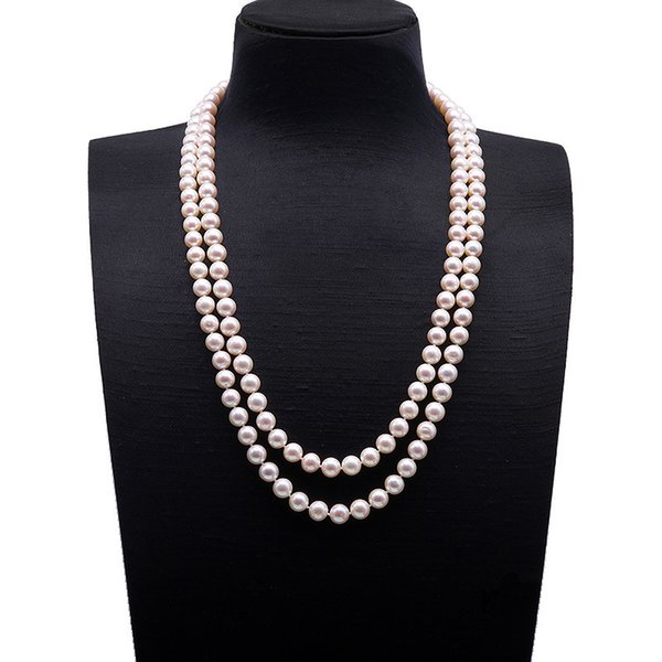 Double strands 7-8mm Round White Freshwater Pearl Necklace 20-22""