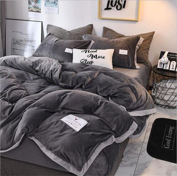 Cristallo popolare Bedding Set Copripiumino flanella velluto lenzuolo 4pcs / set Inverno Tipologia letti Biancheria Re Corallo molle Warm Home Textile