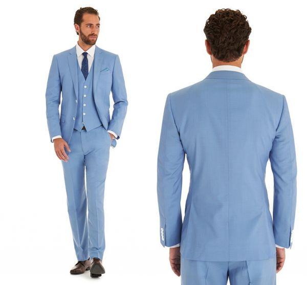Custom Made Sky Blue Wedding Suits Slim Fit Bridegroom Tuxedos For Men 3 Pieces Groomsmen Suit Formal Business Jacket (Jacket+Pants+Vest)