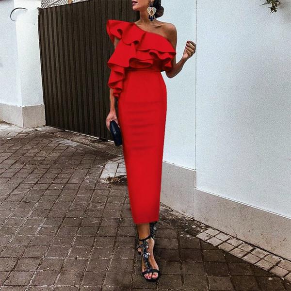 Robes de cocktail longueur gaine courte longueur satin rouge 2019 une épaule volants robe de soirée élégante
