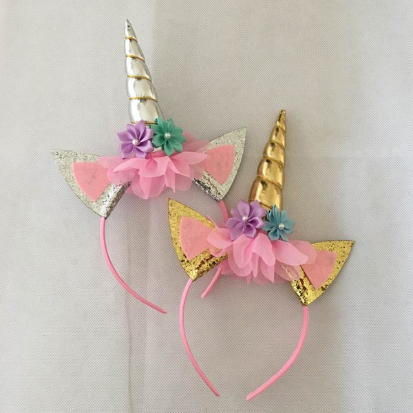 Cartoon unicorn headband top selling wholesale custom baby accessories fashion baby headband party unicorn party supplies