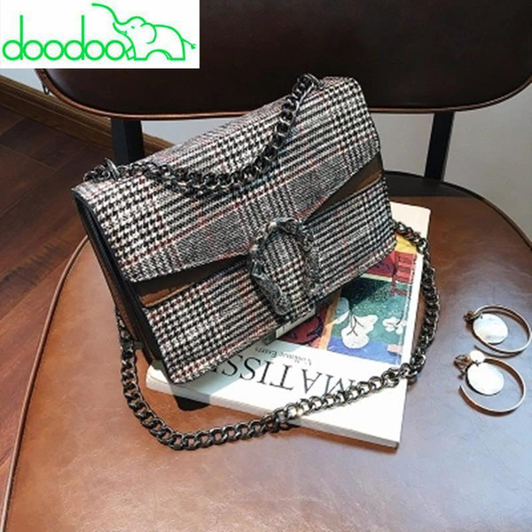 Famous Designer Lock Messenger Bags Plaid Chain Velvet Women Leather Handbags Day Clutch Women&s Bag Small Shoulder Bag Cloe