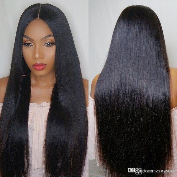 Pelucas rectas de alambre de alta temperatura para el cabello Sin pegamento Pelucas llenas sin encaje Con pelucas pre arrancadas sin encaje