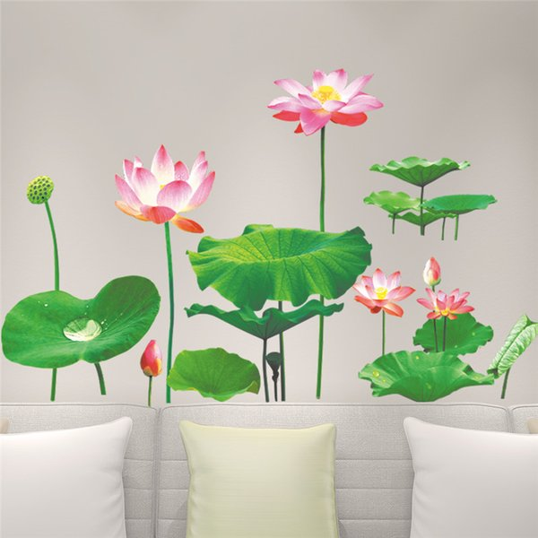 Lotus leaf Pond 3D Wall Stickers Decals TV Sofa Background Living Room Bedroom Home Decor Home Decor Poster Mural