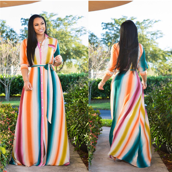 Hot Sale Rainbow Plus Size Women Dresses Floor-length Half Sleeves Clothing with Buttons