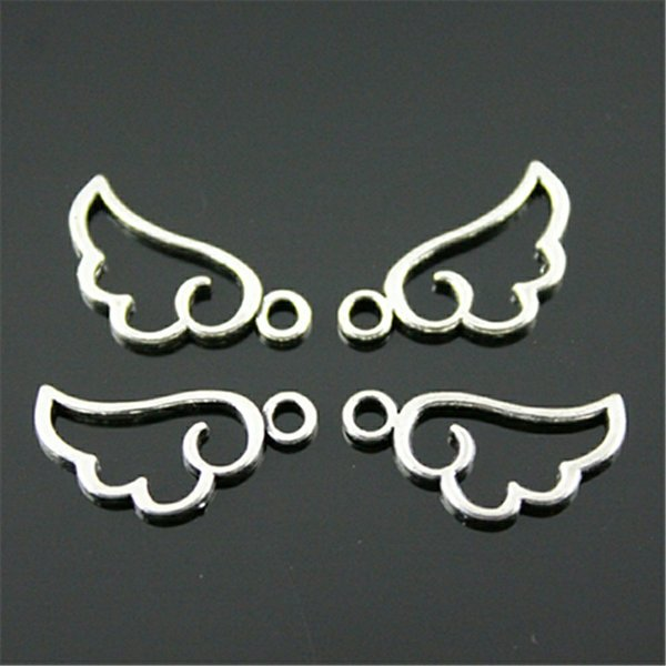 Cheap Charms 40pcs Hollow Wings Charm Charms Angel Wings For Jewelry Making 2 Colors Plated Jewelry Accessories Angel Wing Charm 18x9mm