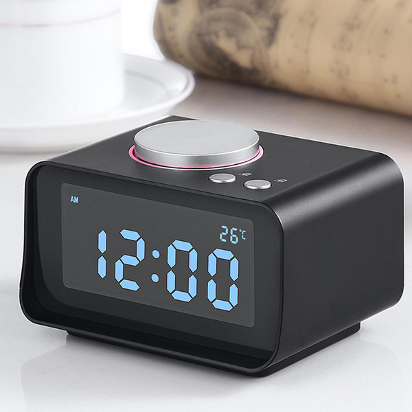 Multi-function FM Radio with Smart Alarm Clock EU Plug Dual USB Port Charger Indoor Thermometer AUX Music Player