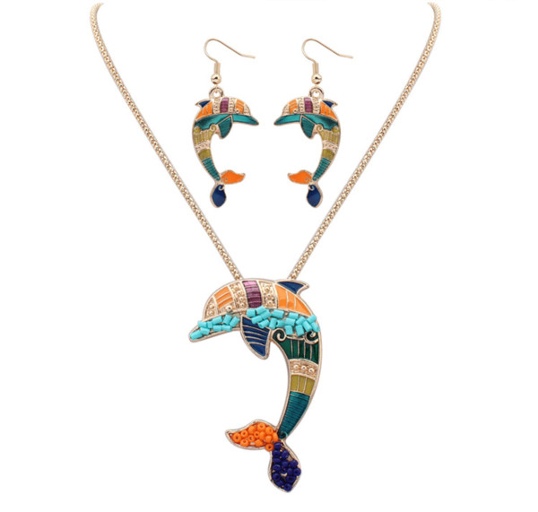 ZHENXIN Geometric Classic Animal Indian jewelry Necklace earrings set Hand carved Women Hippie style Dolphin Hiphop/Rock Tibetan