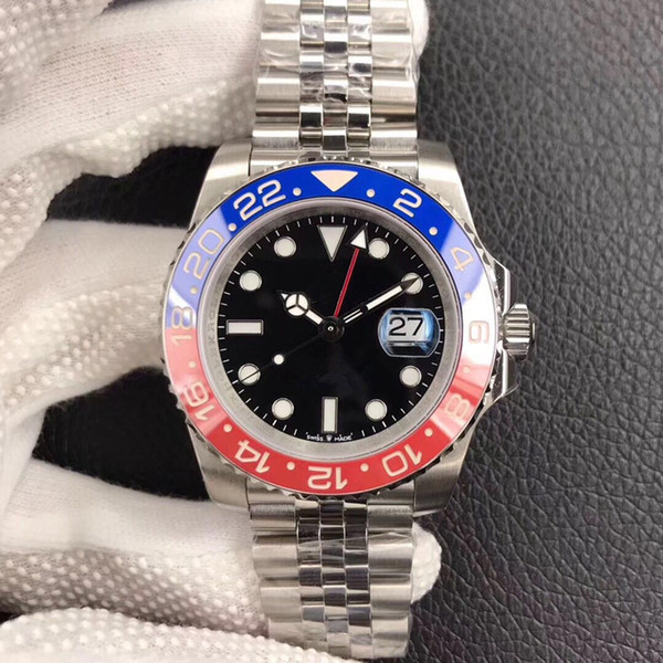 DJ nuevo anillo de cerámica azul rojo reloj de lujo 40mm reloj para hombre de lujo antirreflectante convexa amplificación 2836, reloj mecánico