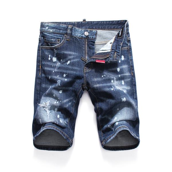 Short en jean déchirant pour hommes Longueur genou Jeans Night club blue Cotton fashion Tight été Short homme imprimé pantalon déchiré LJJA2571