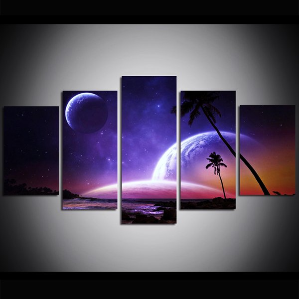 5 Piece Large Size Canvas Wall Art Space Night Sky Planet Oil Painting Wall Art Pictures for Living Room Paintings Wall Decor
