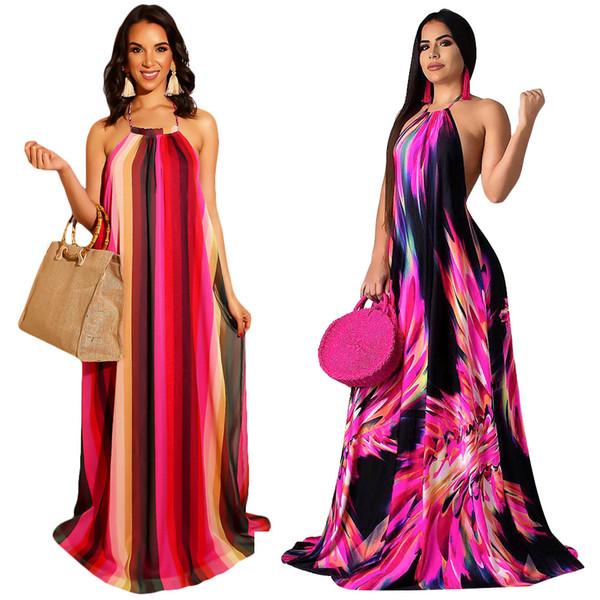 Mujeres Halter Vestidos Maxi Faldas Largas A Rayas Estampado floral Primavera Verano Vestido Vestido sin espalda Playa Sexy Más el tamaño S-3XL Falda informal DHL 55