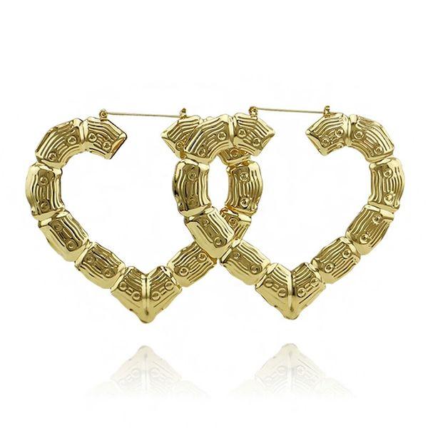 Corazón de bambú cuelga los pendientes para las mujeres moda occidental venta caliente de oro rosa de oro araña pendientes chica joyería Exagerada