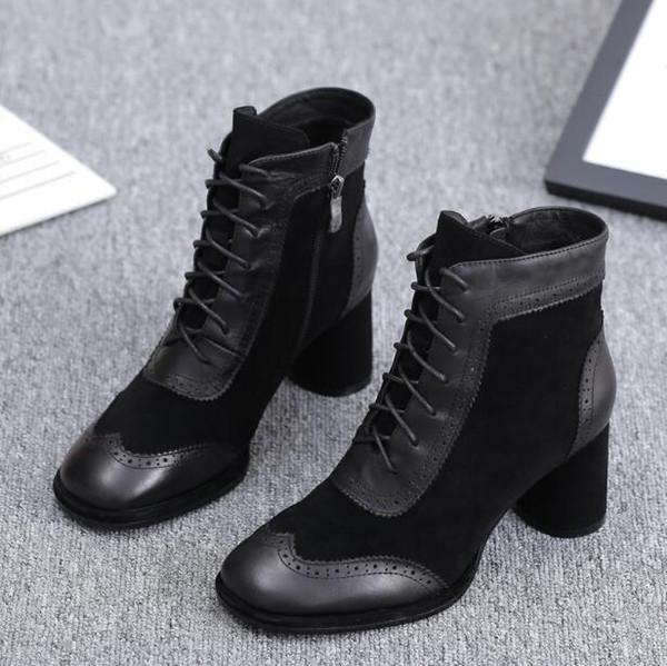 Novas Botas Temporada Designer Botas de salto do hight pedaços de couro genuíno Senhora Ankle Boots zip Toe Praça EUR moda de luxo mulheres Shoes