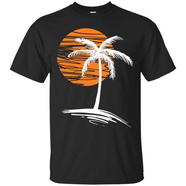Palmeira do por do sol - t-shirt retro novo da t-shirt retro da onda de Synthwave - preto, t-shirt da marinha
