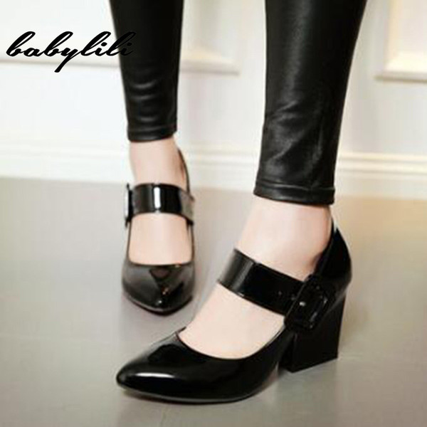 High Heels Womens Shoes Mary Janes Shoes Bridal Square Heel Pumps Women Plus Size 33-43 Pointed Toe Women High Heels