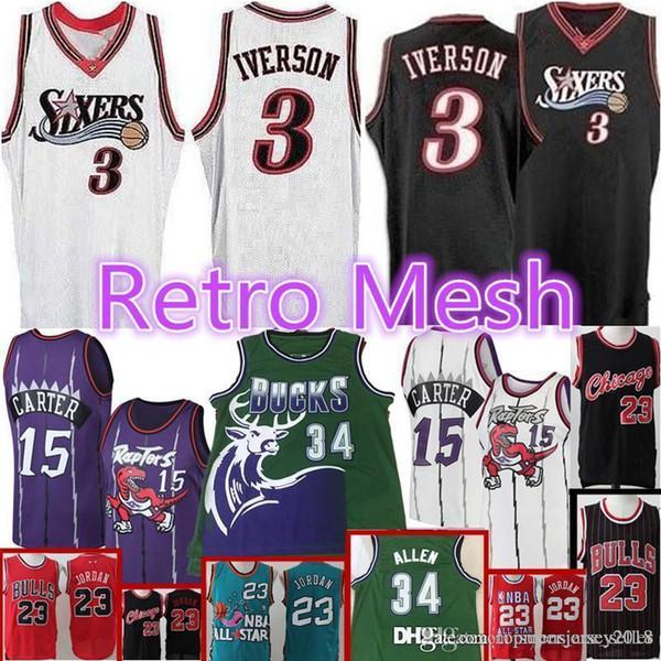 info for d7436 1aa1c 2019 Retro Mesh 76ers Allen 3 Iverson Vince 15 Carter Raptors Bulls 23  Michael Jersey Mens Ray 34 Allen Milwaukee Retro Bucks Jerseys From ...