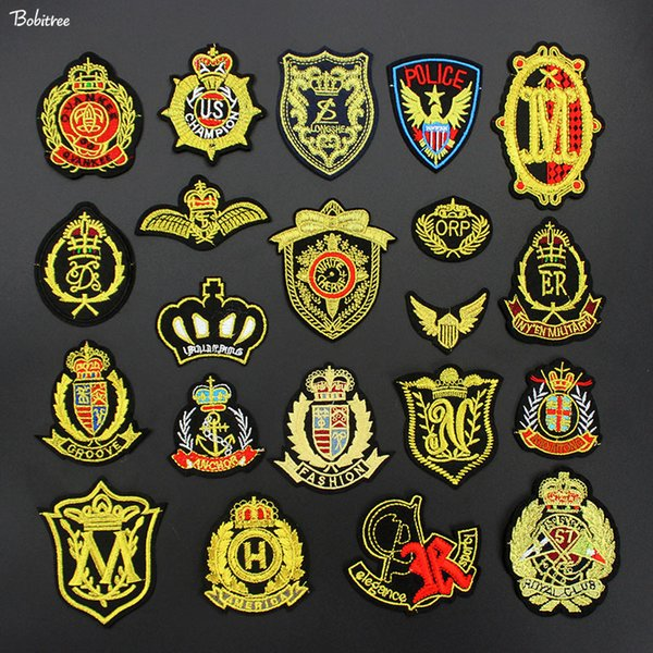 Yellow Golden Badges for clothes Patches Decoration Iron on Embroidery Applique for Clothes Jacket Jeans DIY