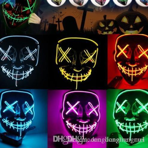 DLM2020 Led Halloween Mask EL Wire Light UP Glowing Mask Masquerade Cosplay Costume Party Festival Christmas Prom Mask 50PC WN664C