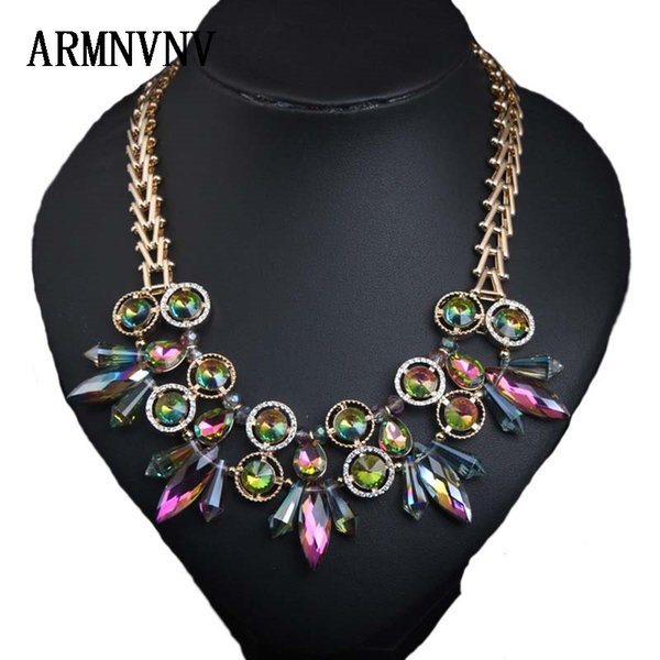 wholesale New European American popular Hot Selling Multi Color Crystal Rhinestones Chokers Necklace Women Jewelry Gifts