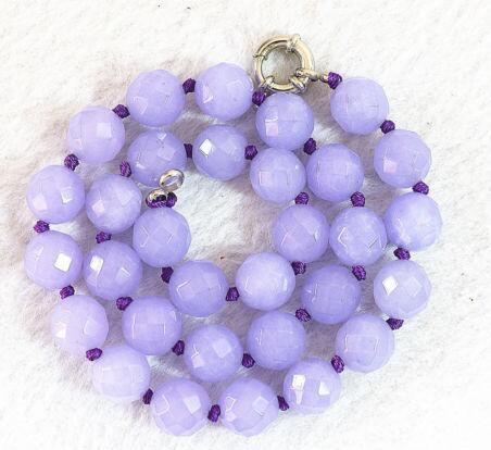 """Faceted 8mm violet Beads stone Necklace 17 """""""