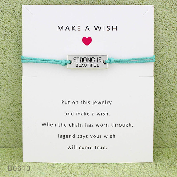 New Strong Is Beautiful Charm Wish bracelets with Gift Card Girls Friendship infinity adjustable Wrap Bangle For women Inspirational Jewelry