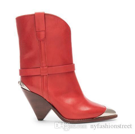 Scarpe personalizzate Stivali Lamsy in vera pelle rossa Design della moda di Parigi Nuove uscite Sfilata Donna Passerella Cinture Scarpe Stivali