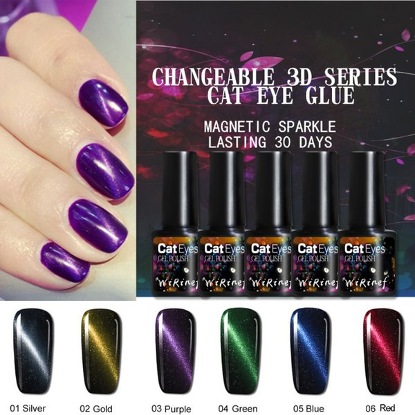 2019 Natural 8ml 3D Magnetic Cat Eye Top Coat Uv Gel Nail Silver Gold Red Colors Manicure Holographic Nail Gel Polish