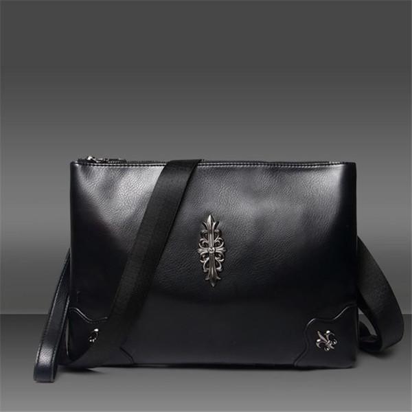 wholesale men handbag street trend rivet wrist bag soft smooth leather messenger bag Joker rivet leather clutch handbag fashion envelope bag