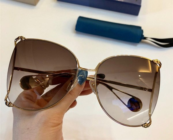 0252 Classic Women Sunglasses Fashion Designer Metal big Hollow Frame Glasses Mosaic pearl Design Top Quality UV400 Protection With Case