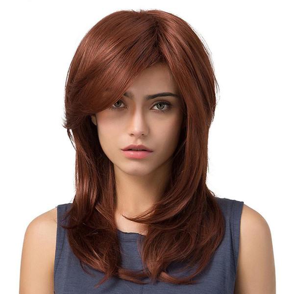 Europa und Amerika Frauen Perücke lange mittlere lockige Haare Slant Bangs Birne Blume inneren Verschluss mit hochwertigen Rose Intranet