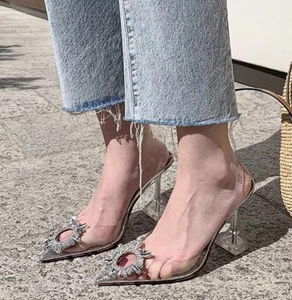 top popular Plus size 35 to 40 41 silver rhinestone pvc clear transparent shoes women pointed toe pumps bridal wedding shoes luxury designer high heel 2020
