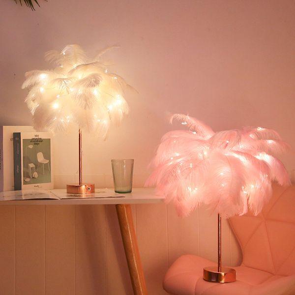 2019 lampada piuma moderna LED USB telecomando Nordic Decoration minimalista romantico creativo Comodino LED Feather notte della lampada